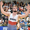 (Brad Davis/The Register-Herald) Independence's Connor Gibson gestures to fans and family in the stands after winning the Class A/AA 160-pound weight class championship over Fayetteville's Trent Pullens during State Wrestling Tournament action Saturday night at the Big Sandy Arena. Indy's Gibson won the match.