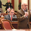Senator Romanminority leader Roman Prezioso, D-Marion, speaks about Senate Bill 267, increasing salaries of certain state employees. The Senate unanimously passed the bill that would increase teachers and certain state employees salaries by 1 percent.<br /> (Rick Barbero/The Register-Herald)