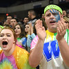 Mollee Akers, left, Courtney Stewart and Chase Brown, Westside students, cheer for their team against Winfield Wednesday morning during the quarter-final game of the Class AA Boys State Basketball Tournament held at the Charleston Civic Center. Winfield won 68-65<br /> (Rick Barbero/The Register-Herald)