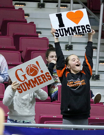 (Brad Davis/The Register-Herald) Summers County fans and family cheer on the Lady Bobcats Thursday night at the Charleston Civic Center.
