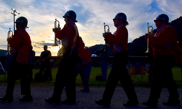(Brad Davis/The Register-Herald) The Oak Hill marching band makes their way to their section Friday night in Smithers.
