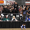 Woodrow's fans erupt after consecutive three-pointers were made during the second quarter of their basketball sectional championship against Capital Tuesday in Beckley. (Chris Jackson/The Register-Herald)