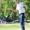 Kevin Na reacts after finishing his round and winning A Military Tribute at The Greenbrier golf tournament held at The Greenbrier Resort in White Sulphur Springs.<br /> (Rick Barbero/The Register-Herald)