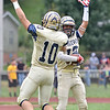 (Brad Davis/The Register-Herald) Shady Spring receiver Joe Cantley, right, leaps in celebration with quarterback Drew Clark after the two connected on a long touchdown pass during the Tigers' homecoming win over visiting PikeView Saturday afternoon.