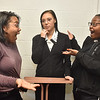 (Brad Davis/The Register-Herald) Students played by Nataysia Moore, left, and Makaiya Bryant react as they encounter Rosa Parks (played by Mykel Hairston) in the wax museum as they rehearse scenes from Blacks in Wax Saturday afternoon at Heart of God Ministries.