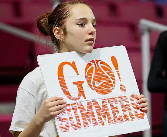 (Brad Davis/The Register-Herald) A young Summers County fan reacts as events on the court turn against the Lady Bobcats Friday night at the Charleston Civic Center.