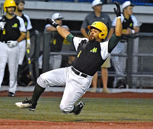 (Brad Davis/The Register-Herald) Miners baserunner DePaul Blunt scores along with teammate Cole Coffey off a bases-loaded single by teammate Maddux Houghton during the 6th inning against Lafayette Friday night at Linda K. Epling Stadium.