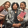 (Brad Davis/The Register-Herald) Students played by Taya Moore, left, and Miah Cox grab a few selfies after encountering gospel singer Mahailah Jackson (played by Sara Lewis) in the wax museum as they rehearse scenes from Blacks in Wax Saturday afternoon at Heart of God Ministries.