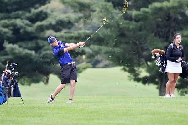 Princeton's D.J. Bailey drives onto the No. 9 hole during their Class AAA, Region 3 golf tournament at Pipestem Resort State Park on Monday. (Chris Jackson/The Register-Herald)