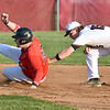 (Brad Davis/The Register-Herald) Liberty baserunner Chris Begley avoids the tag attempt from Oak Hill infielder Lane Jordan and ends up safe at 2nd base during the second game of a doubleheader Friday evening in Oak Hill.