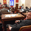 Senator Richard Ojeda D-Logan, listens to discussions about Senate Bill 267 increasing salaries of certain state employees. The Senate unanimously passed the bill that would increase teachers and certain state employees salaries by 1 percent.<br /> (Rick Barbero/The Register-Herald)
