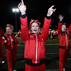 Oak Hill cheerleaders get the crowd fired up after a Red Devil touchdown. Chad Foreman for the Register-Herald.