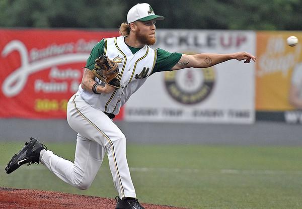 (Brad Davis/The Register-Herald) Miners starting pitcher Josh Zeboskey delivers against Butler Wednesday night at Linda K. Epling Stadium.