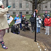 (Brad Davis/The Register-Herald) Christina Baisden, one of the event's organizers, delivers a passionate speech during Beckley's March For Our Lives rally Saturday afternoon at Shoemaker Square.