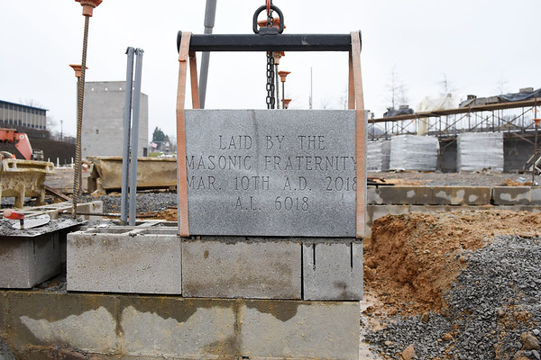 The West Virginia Masons held a Masonic Cornerstone Ceremony for the new Beckley Police Department Building in Beckley on Saturday. The Masons haven't set a cornerstone in Raleigh County in more than 50 years. (Chris Jackson/The Register-Herald)