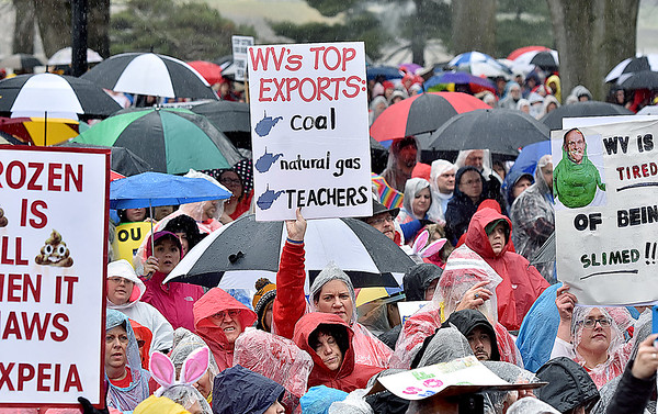 (Brad Davis/The Register-Herald) Scenes from the teacher's rally Saturday afternoon at the State Capitol Complex.
