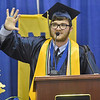 (Brad Davis/The Register-Herald) Nicholas County Summa Cum Laude speaker Eamonn Payton keeps his fellow seniors chuckling as he delivers a humorous speech at the Summersville Armory and Convention Center during the school's commencement ceremony Sunday afternoon.