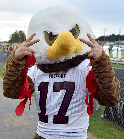 (Brad Davis/The Register-Herald) Woodrow's Flying Eagle mascot is ready to go Friday night in Fairlea.