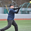 (Brad Davis/The Register-Herald) Beckley Police chief Lonnie Christian hacks at a pitch during the United Way's Boots vs Badges charity softball event Saturday afternoon at Linda K. Epling Stadium.