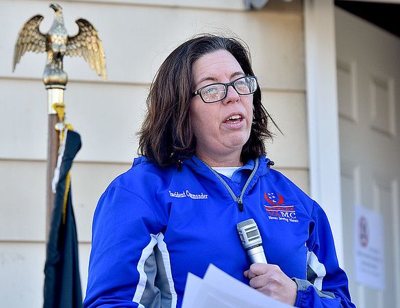 (Brad Davis/The Register-Herald) Veteran Stacy Vasquez, Director of the Beckley V.A. Medical Center addresses the crowd as the guest speaker during the 5th Annual Healing Fields Ceremony Sunday at the Raleigh County Veterans Museum.