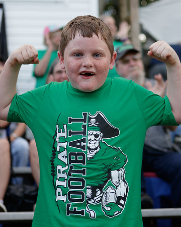 "A young Pirate fan shows us that he is ""Fayetteville Strong. Chad Foreman for the Register-Herald."