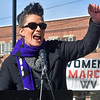 "(Brad Davis/The Register-Herald) Kellie Elkins, Commissioner at the Beckley Human Rights Commission, speaks during the ""It's Our Time"" rally marking the one-year anniversary of the Women's March Saturday morning in Beckley's Showmaker Square."