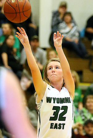 (Brad Davis/The Register-Herald) Wyoming East's Gabby Lupardus pulls up for a jumpshot against Westside Thursday night in New Richmond.