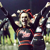 Oak Hill Cheerleaders keep the crowd going after a Red Devil touchdown. Chad Foreman for the Register-Herald.
