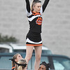 Summers County cheerleaders during opening ceremony of their football game against Mount View Thursday in Hinton. (Chris Jackson/The Register-Herald)