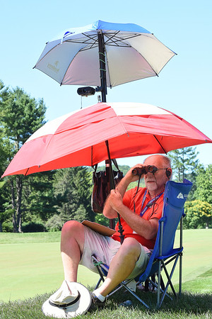 Tim Glazer, of Hickory, NC, was a lazer operation on the par 5, 12th hole during A Military Tribute at The Greenbrier.<br /> (Rick Barbero/The Register-Herald)