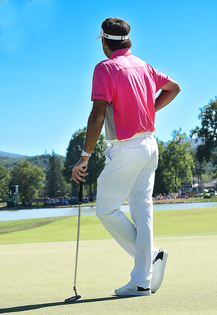 Bubba Watson looking down the 16th fairway after he putted during A Military Tribute at The Greenbrier golf tournament held at The Greenbrier Resort in White Sulphur Springs.<br /> (Rick Barbero/The Register-Herald)
