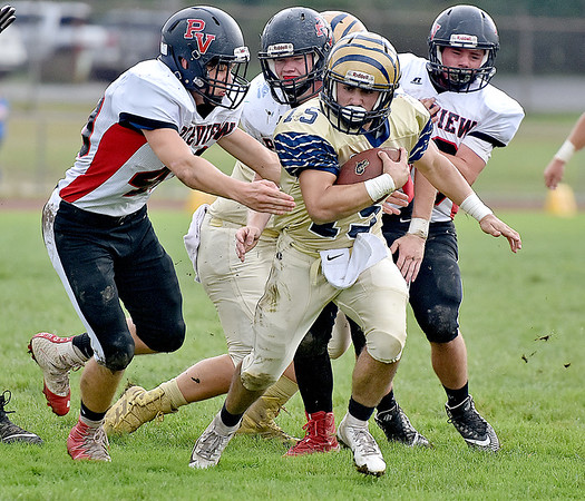 (Brad Davis/The Register-Herald) Shady Spring ball carrier Tyler Bragg is chased by Panthers defender Brayden Fleeman, left, and a hoard of others during a big gain in the Tigers' homecoming win over visiting PikeView Saturday afternoon.