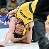 (Brad Davis/The Register-Herald) WVU Tech's Dylan Dennison takes on Ohio Valley University's Tristan Bean in 133-pound weight class match Friday night inside the Van Meter Gym. WVU Tech's Dennison would pin Bean to win the match.