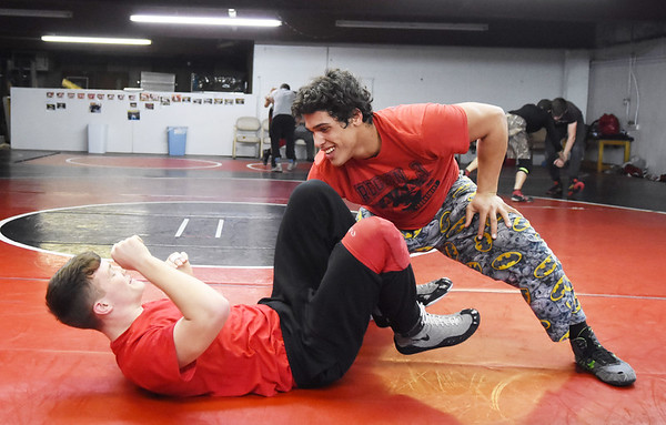 Oak Hill's Christian Lively, right, practices with Moses Truman during their wrestling practice Monday in Oak Hill. (Chris Jackson/The Register-Herald)