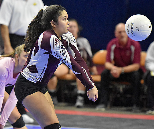(Brad Davis/The Register-Herald) Woodrow Wilson's Maria Salon returns a ball against University during State Volleyball Tournament action Friday evening at the Charleston Civic Center.