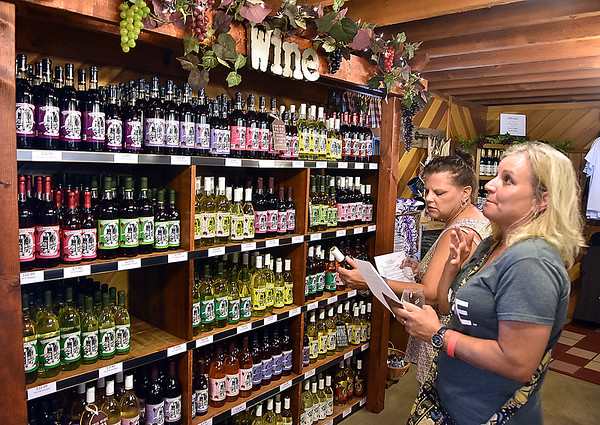 (Brad Davis/The Register-Herald) Cross Lanes residents Beth Kimble, right, and Barbara Conner shop for bottles of their favorite wines tasted at the Kirkwood Wine Festival Sunday afternoon in Summersville.