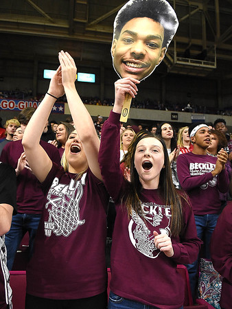 Woodrow Wilson student section cheering on the Flying Eagles during game against Martinsburg in the quarter-final game of the Class AAA Boys State Basketball Tournament held at the Charleston Civic Center. Martingburg won 58-48<br /> (Rick Barbero/The Register-Herald)