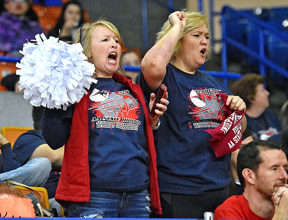 (Brad Davis/The Register-Herald) Indy fans react to events on the court during State Volleyball Tournament action Friday morning at the Charleston Civic Center.