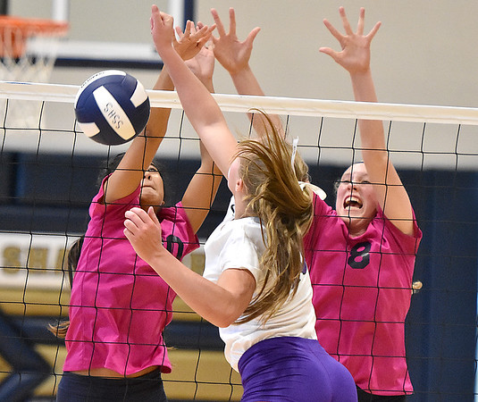 (Brad Davis/The Register-Herald) Shady Spring's Olivia Barnett, right, and Sandy Mills step up to block a spike attempt from James Monroe's Gracie Mann Saturday afternoon in Shady Spring.