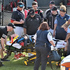 (Brad Davis/The Register-Herald) Greater Beckley Christian player Brett Riffe is taken off the field by ambulance after collapsing Wednesday evening at Park Middle School.