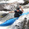 "Barney Bonito of Summersville performs a ""boof move"" in the Sweet's Falls Class V rapid on the Upper Gauley River. Chad Foreman for the Register-Herald."