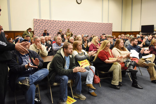 Raleigh County residents came out to show their support of not annexation a portion of Robert C. Byrd Dr. from Fitzpatrick Road intersection to Sophia city limits into the city limits of Mabscott on Tuesday. (Chris Jackson/The Register-Herald)