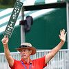 Tom Napier, of Richmond, Va., helps keep the crowd quiet on the 17th hole during the first round of, A Military Tribute at The Greenbrier golf tournament.<br /> (Rick Barbero/The Register-Herald)