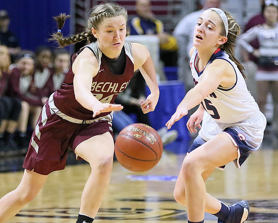 (Brad Davis/The Register-Herald) Woodrow Wilson's Liz Cadle sweeps in to steal the ball from Parkersburg South's Sierra Hays Wednesday afternoon at the Charleston Civic Center.
