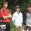 Carson Profit, of Pikeview, left, Todd Duncan, of Shady Springs and Caleb Cook, of Westside watch a drive hit by Michael Growe, of Wyoming East, during the Class AA Region 3 golf tournament held at Grandview Country Club in Beaver.<br /> (Rick Barbero/The Register-Herald)