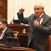Senate minority leader Roman Prezilso, D-Marion addresses the Senate floor talking about the teachers pay raise bill. <br /> (Rick Barbero/The Register-Herald)