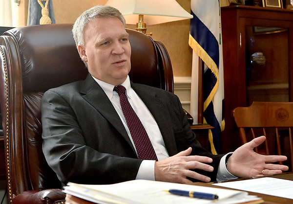 (Brad Davis/The Register-Herald) Speaker of the House Tim Armstead talks with the Register-Herald during a visit to his office March 22 at the State Capitol Complex.