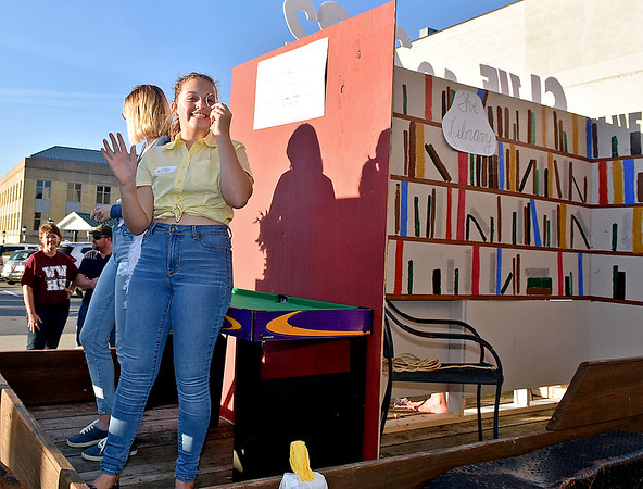 (Brad Davis/The Register-Herald) The freshman class with their Library-themed float during the school's homecoming parade Wednesday evening in downtown Beckley.