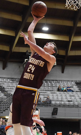 Pocahontas County's Briar Wilfong (24) puts up a layup during their Big Atlantic Classic basketball game against Richwood Monday in Beckley. (Chris Jackson/The Register-Herald)