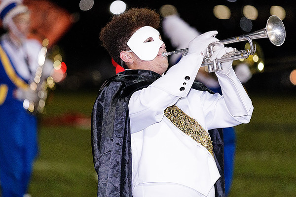 A Shady Spring trumpet player plays a solo in full costume while performing the Phantom of the Opera. Chad Foreman for the Register'Herald.